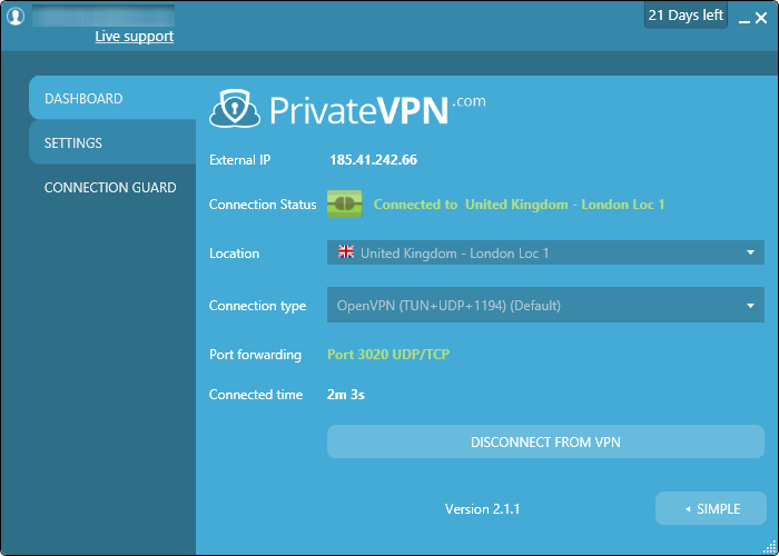 privatevpn connected advanced-interface