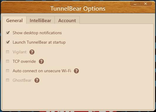 tunnelbear general options